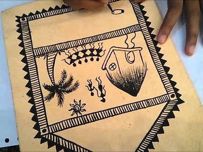 Sameeka's Warli Painting on hand made paper bag