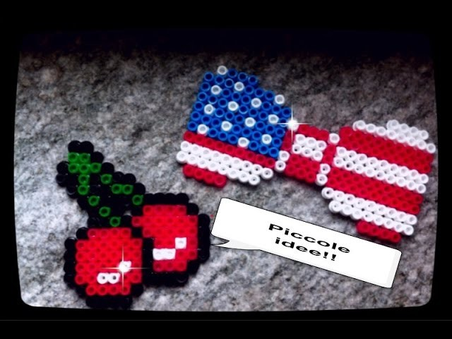 TUTORIAL Fiocco bandiera  e ciliegie hama beads- American flag ribbon and cherries hama beads