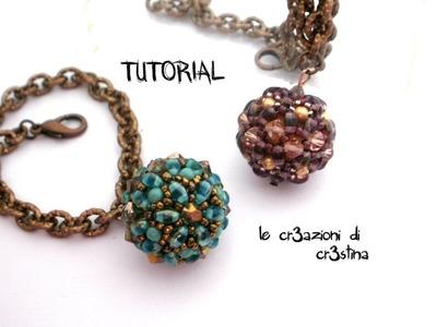 Tutorial Sfera Rivestita con Twin Beads. Superduo, Bicono e Perle Swarovski - Beaded Bead