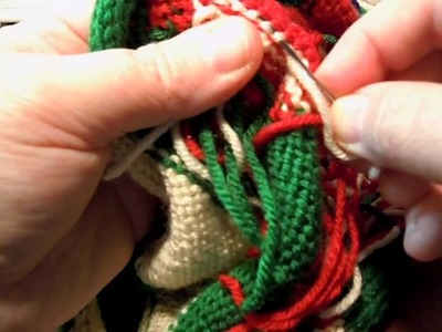 Weaving in Ends on Knitted Christmas Stocking