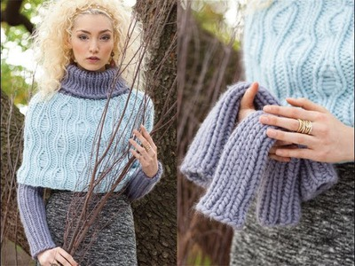 #19 Drop-Stitch Poncho and Arm Warmers, Vogue Knitting Winter 2013.14