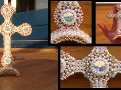 Beading4perfectionists : Designing process of a cross part 1: Bezel & CRAW beading tutorial