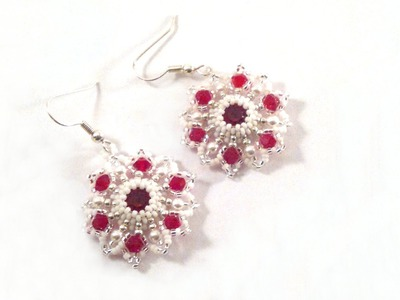 Beading4perfectionists: Red star earring with Swarovski chaton beading tutorial