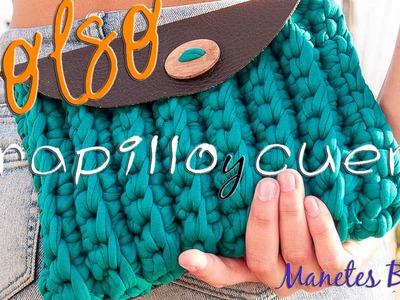 Bolso de trapillo y cuero | Tutorial DIY Crochet XXL