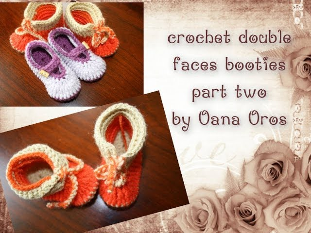 Crochet double faces booties part two