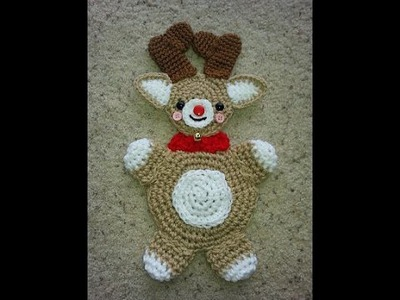 Crochet easy Reindeer hotpad potholder DIY tutorial