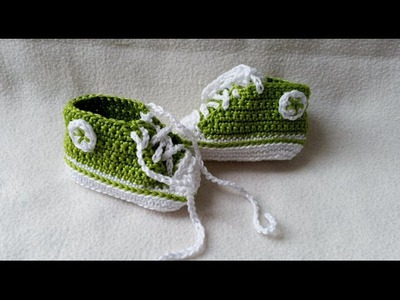 Crocheting baby shoes - Sneakers for babies with subtitles Part 3.5 by BerlinCrochet