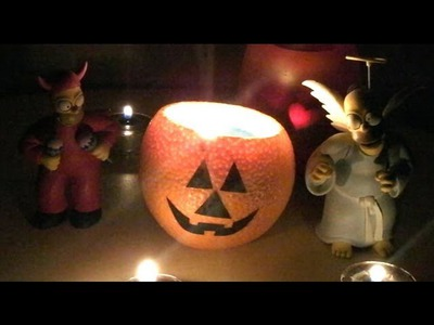 DIY Halloween Candle out of an Orange - Easy Halloween Handmade Decorations & Crafts