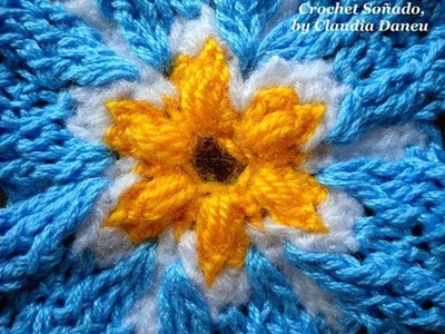 "FORGET-ME-NOT FLOWER (CROCHET VERSION). FLOR ""NOMEOLVIDES"", AL CROCHET"