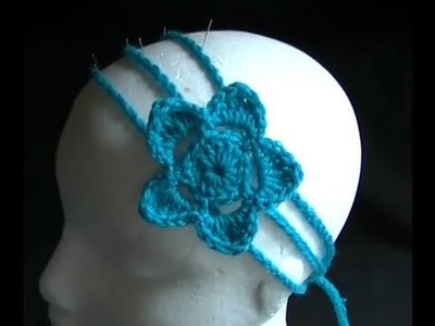 How to Crochet a 3 Strand Headband with Flower Part  2 of 2