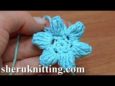 How To Crochet Flower Popcorn Stitches Tutorial 41 Part 1 of 3 Kwiatek na szydełku