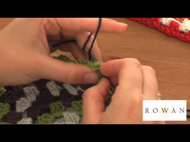 How to join crocheted granny squares together, with Rowan Yarns and Purplelinda Crafts