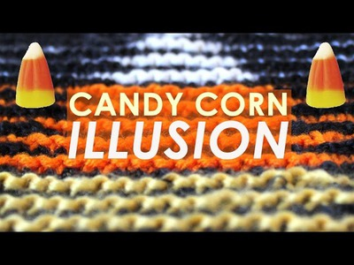 How to Knit a Halloween Candy Corn Illusion Square | Halloween Decor