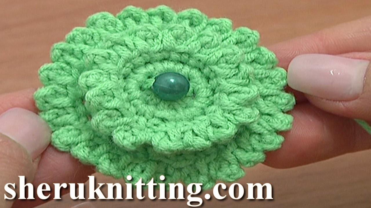 Layered Crochet Stuffed Flower Button Tutorial 6 Part 1 of 2 Layered Crochet Flowers Picots Around