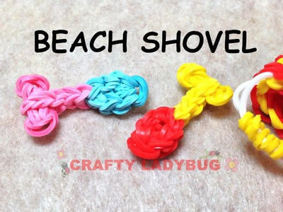 NEW Rainbow Loom Band BEACH SHOVEL EASY Charm Tutorials by Crafty Ladybug.How to DIY
