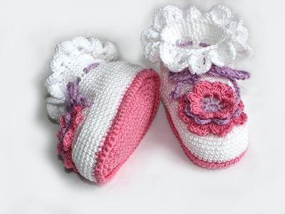 Вязание крючком. МК Пинетки крючком (часть 2) Crochet. Crocheted sandals.