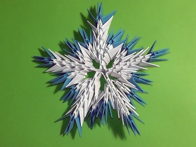 3D origami snowflake tutorial instruction N2 for beginners