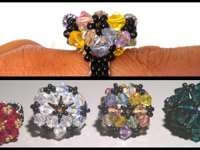 Beading4pefectionists : Wheel stitch based mounted Swarovski beads ring beading tutorial