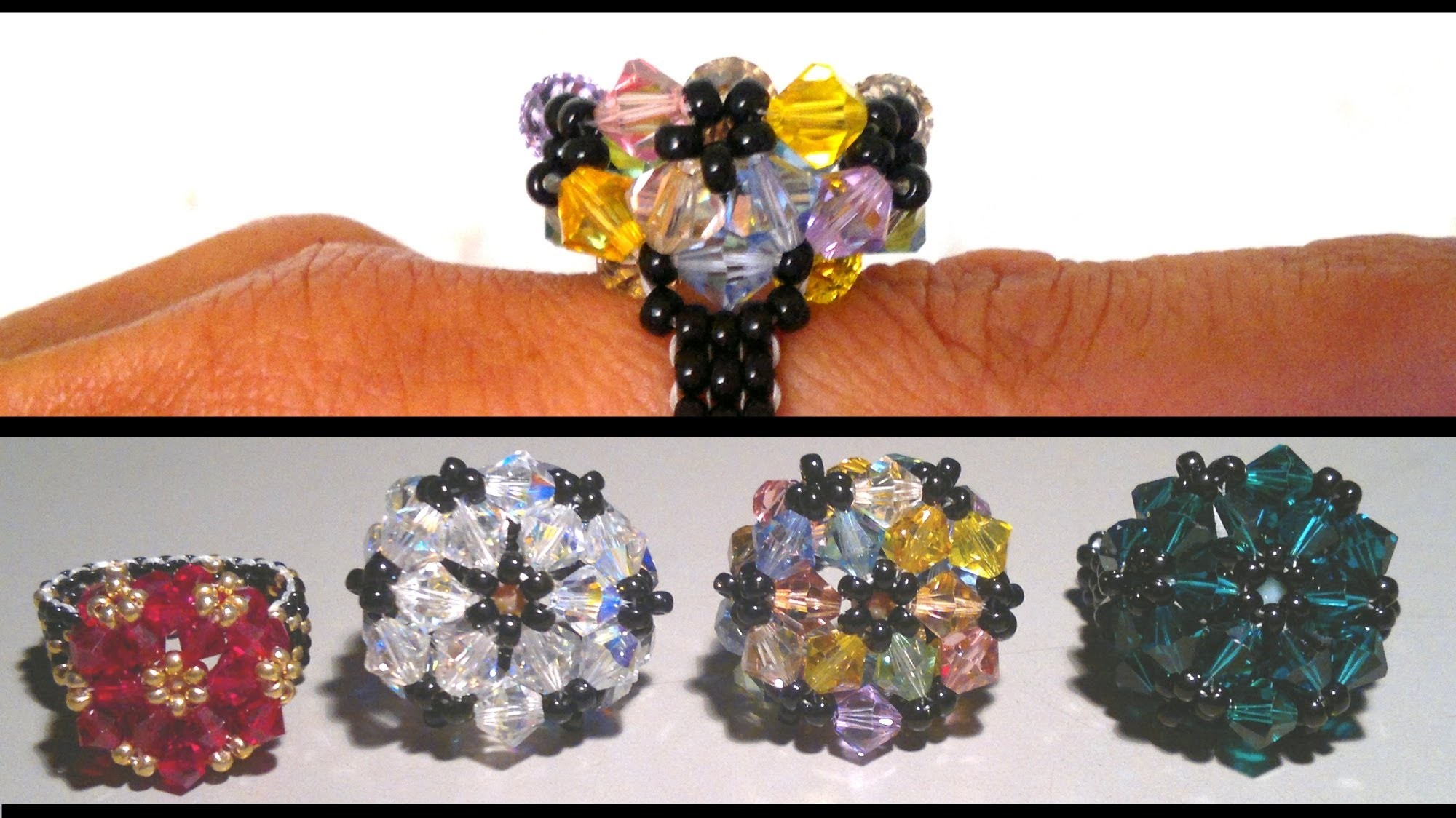 Beading4pefectionists : Wheel stitch based mounted Swarovski beads ring beading tutorial