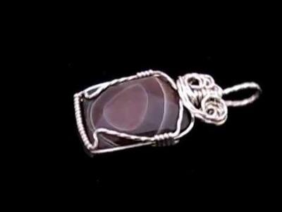 Botswana Agate Wire Wrap Pendant - By Deb's Wire Jewelry