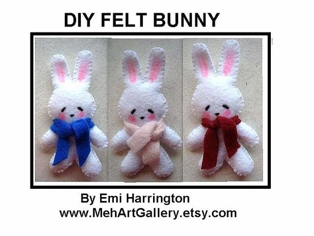 DIY FELT BUNNY, sewing pattern, free download