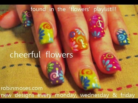 DIY Nail Art   Easy Flower Nails For Beginners   Rainbow Daisy Nails!!