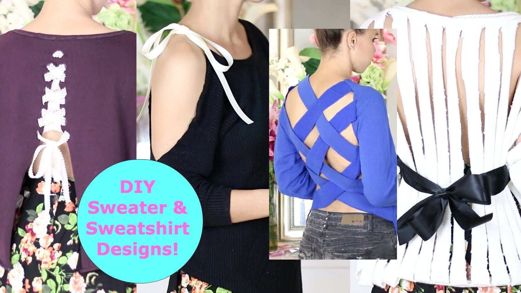 DIY Sweater Design Cutting Ideas! DIY Sweater. Sweatshirt Reconstruction