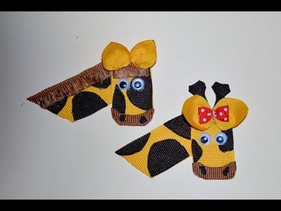GIRAFFE or HORSE Ribbon Sculpture Zoo Animal Hair Clip Bow DIY Free Tutorial by Lacey