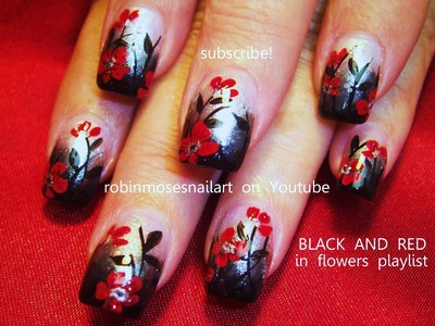 Nail Art Tutorial | DIY Flower Nails | Red & Black Gothic Ombre Nail Design