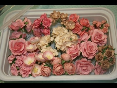 New Shabby chic handmade mulberry  roses and flowers for your scrapbooks