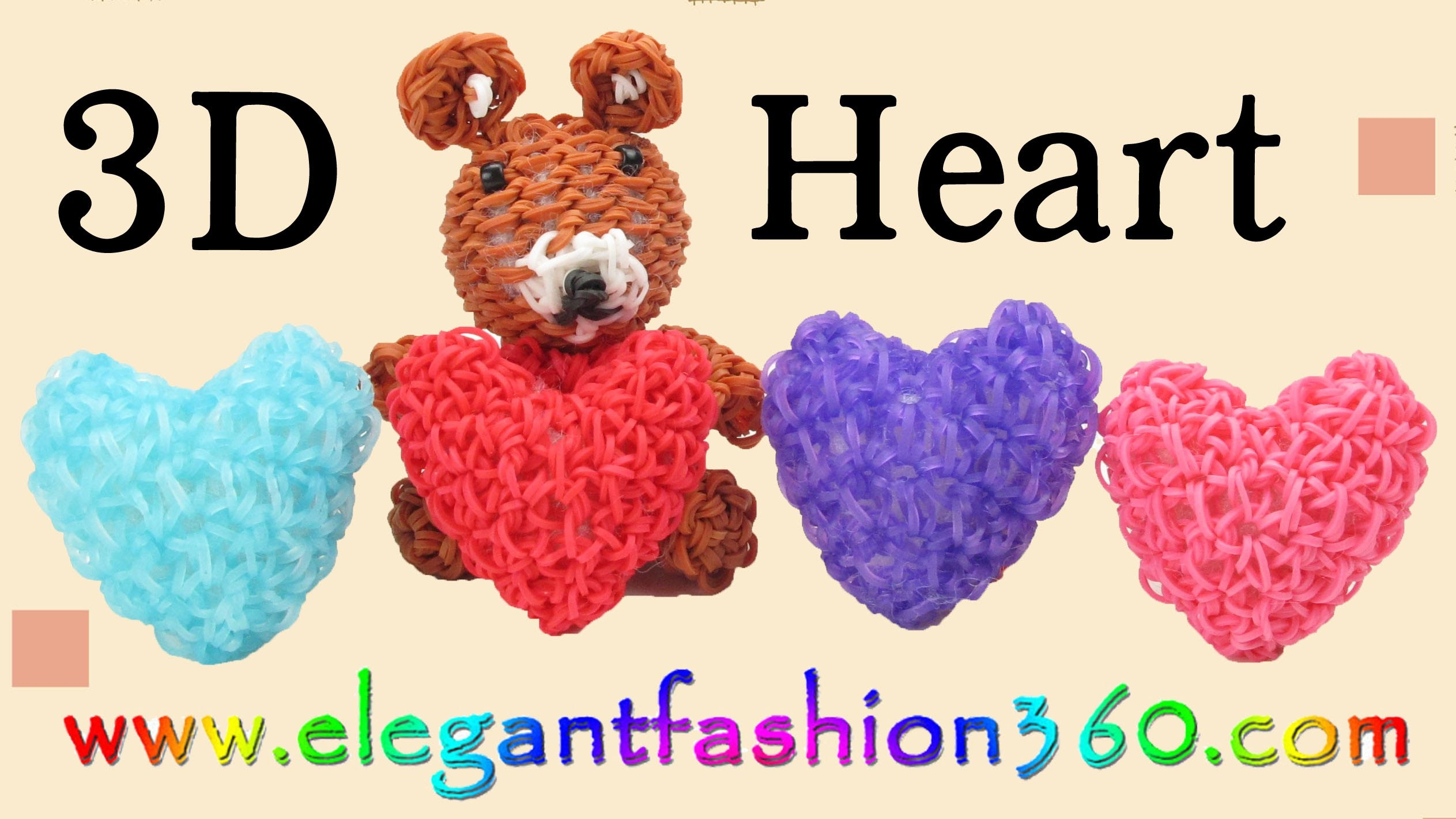 Rainbow Loom Heart 3D Charms.Holiday.Valentine - How to Loom Bands Tutorial