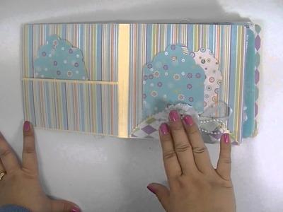 Twisted Paper Flowers File Folder Mini Album Scrapbook