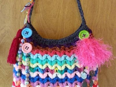 #Crochet Crazy Scrap Yarn Bag with Puffed V Stitch #TUTORIAL DIY FREE CROCHET HANDBAG