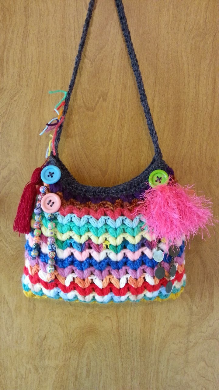 #Crochet Crazy Scrap Yarn Bag with Puffed V Stitch #TUTORIAL DIY FREE CROCHET HANDBAG