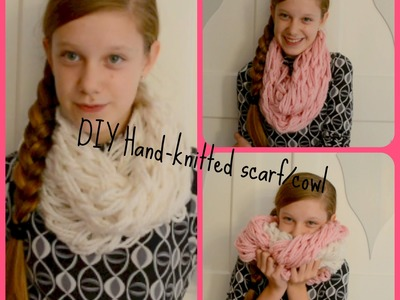 DIY Hand knitted chunky Cowl. infinity Scarf in 30 Minutes