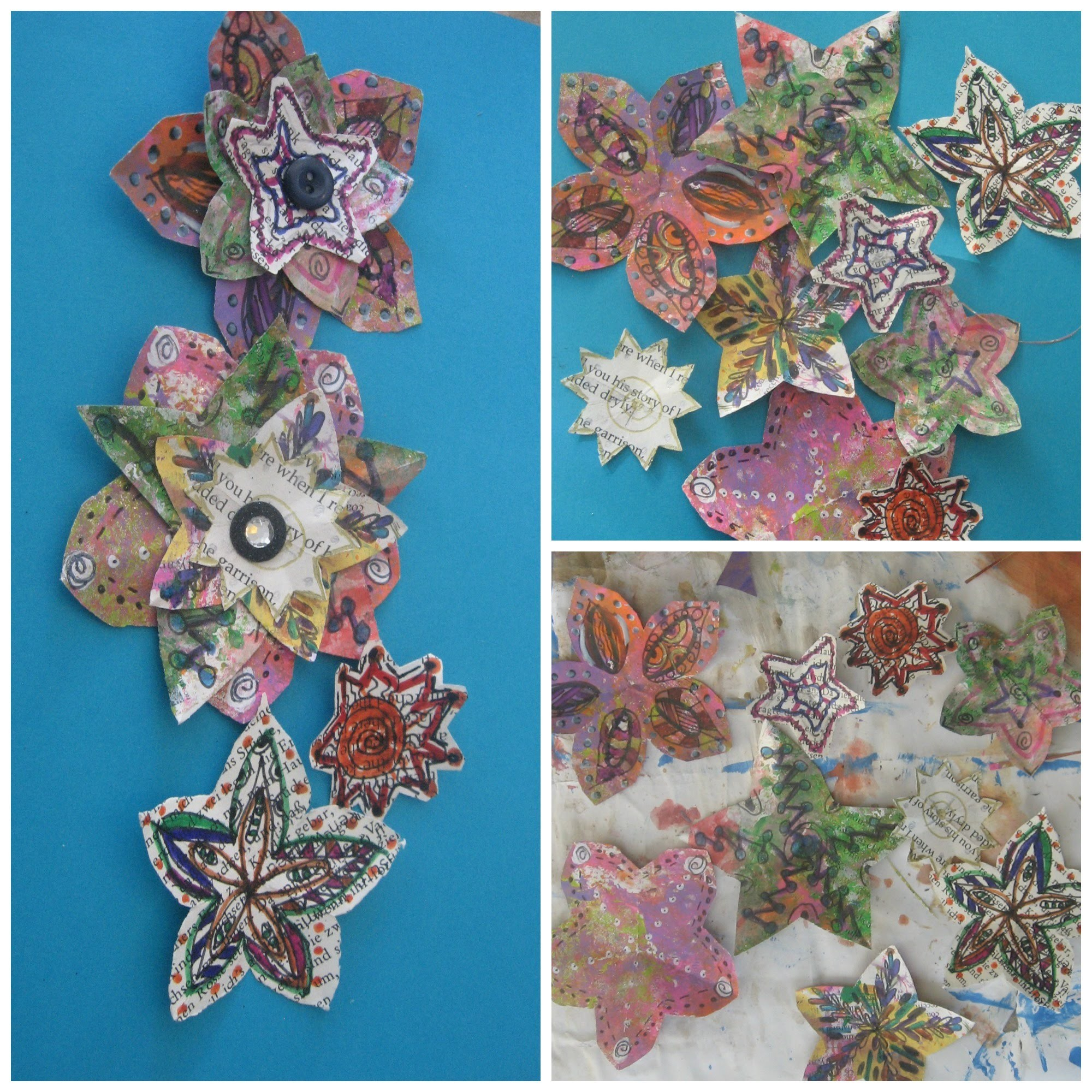 How to make Doddle Flowers. how to make recycled paper flowers.Handmade magazine flower