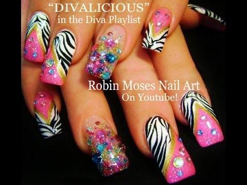 Nail Art Tutorial | DIY Pink & Black Zebra Print Nails | Diva Bling Nail Design