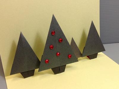 Origami Christmas Forrest Pop-Up Card - Handmade Cards