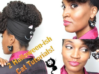 3- #GaudyIsGood EASY DIY Halloween Cat Earrings and Cat Scarf