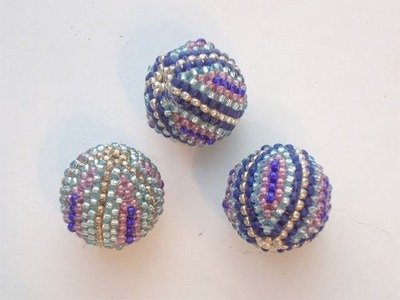 BeadsFriends: Beaded bead tutorial - How to cover a wooden bead with Peyote Stitch 2.2