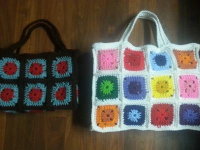 #Crochet granny square bag PART 2 THE HANDLES TUTORIAL #CROCHET #TUTORIAL