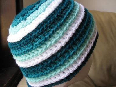 Crochet Hat - Ripple Wave Beanie Left Handed Tutorial
