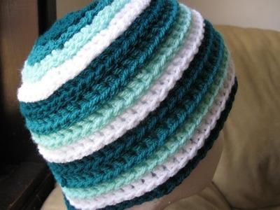 Crochet Hat - Ripple Wave Beanie Left Handed Tutorial