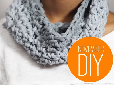 DIY Finger Crochet Snood Scarf from a T-shirt - No Sew