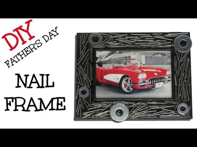 DIY Nail Frame Man Cave Decor -  Craft Klatch Father's Day Gift Ideas Series