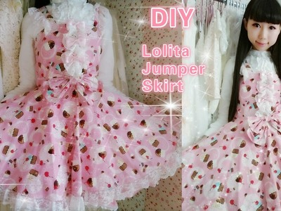 DIY-Sew a cute cupcake Lolita Jumper Skirt in 2 Hours(easy) for School