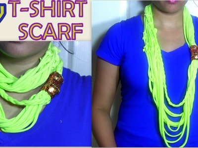 DIY T-Shirt Scarf.Necklace : Inexpensive DIY Craft Ideas to Upcycle.Recycle Old T-shirt into Scarf