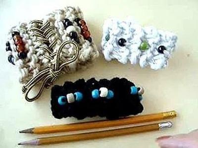 KNITTING WITH PENCILS, make a bracelet or headband.