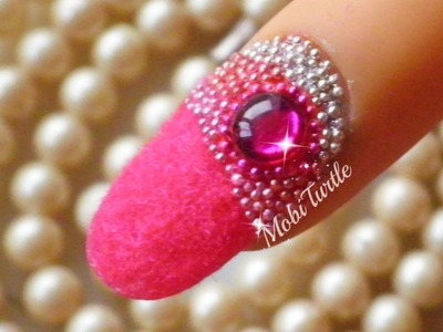 Prom Nails Requested | Embedded Rhinestone Beads and Fluffy Flocking Velvet | STEP BY STEP TUTORIAL