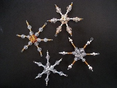 BEADED STAR ORNAMENT, how to, diy, Christmas ornament, snowflake